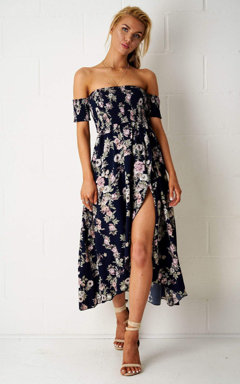Sorayiah Floral Bardot Maxi Dress - love frontrow
