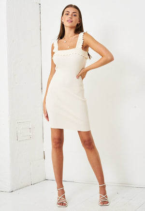 Stretch Knit Bodycon Dress in Ivory - love frontrow