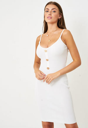Stretch Knit Bodycon Dress in White - love frontrow