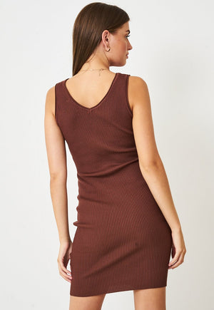 Stretch Knit Button Dress in Brown - love frontrow