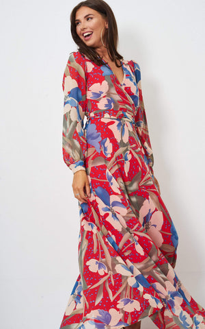 Talise Red Bloom Wrap Chiffon Maxi Dress - love frontrow