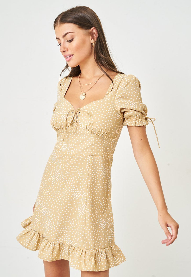 Tan Polka Dot Mini Dress - love frontrow