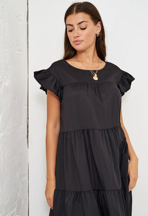 Black Tiered Smock Midi Dress - love frontrow