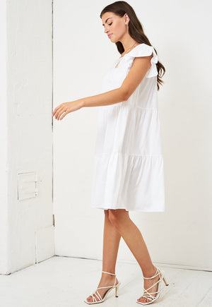 White Tiered Smock Midi Dress - love frontrow