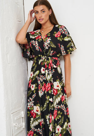 Tropical Floral Print Maxi Wrap Dress in Black - love frontrow