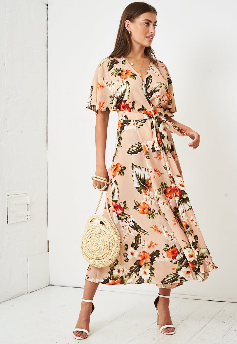 Tropical Floral Print Maxi Wrap Dress in Nude - love frontrow