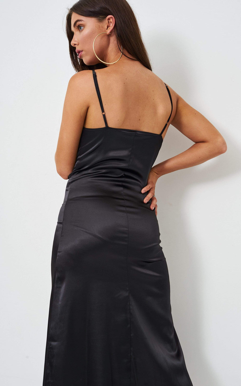 Vanyia Black Satin Slip Midi Dress - love frontrow