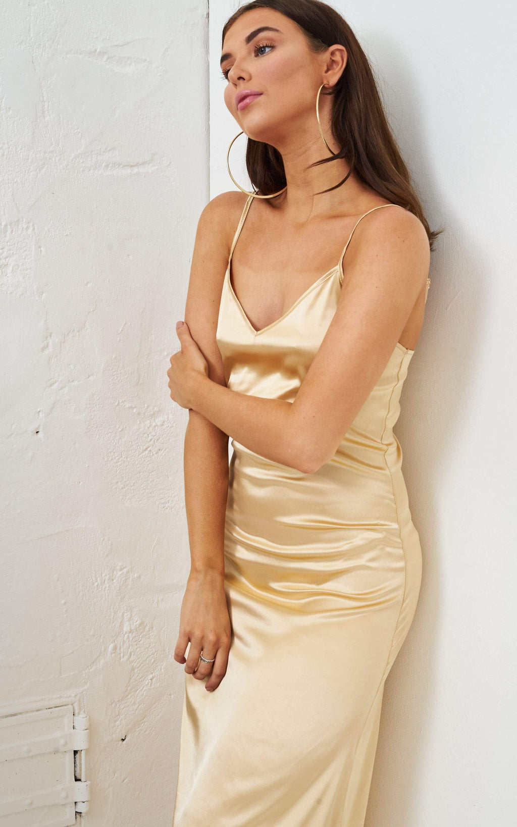 Vanyia Gold Satin Slip Midi Dress - love frontrow