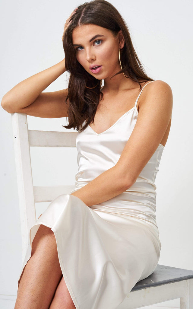 Vanyia Ivory Satin Slip Midi Dress - love frontrow