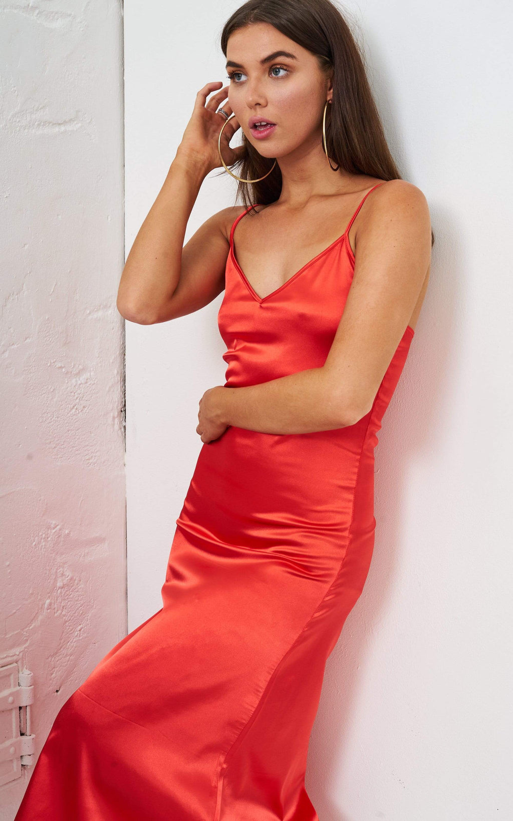Vanyia Orange Satin Slip Midi Dress - love frontrow