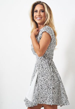 White Animal Print Wrap Dress - love frontrow