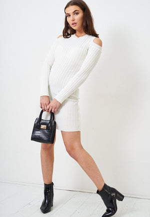 White Cold Shoulder Knit Dress - love frontrow