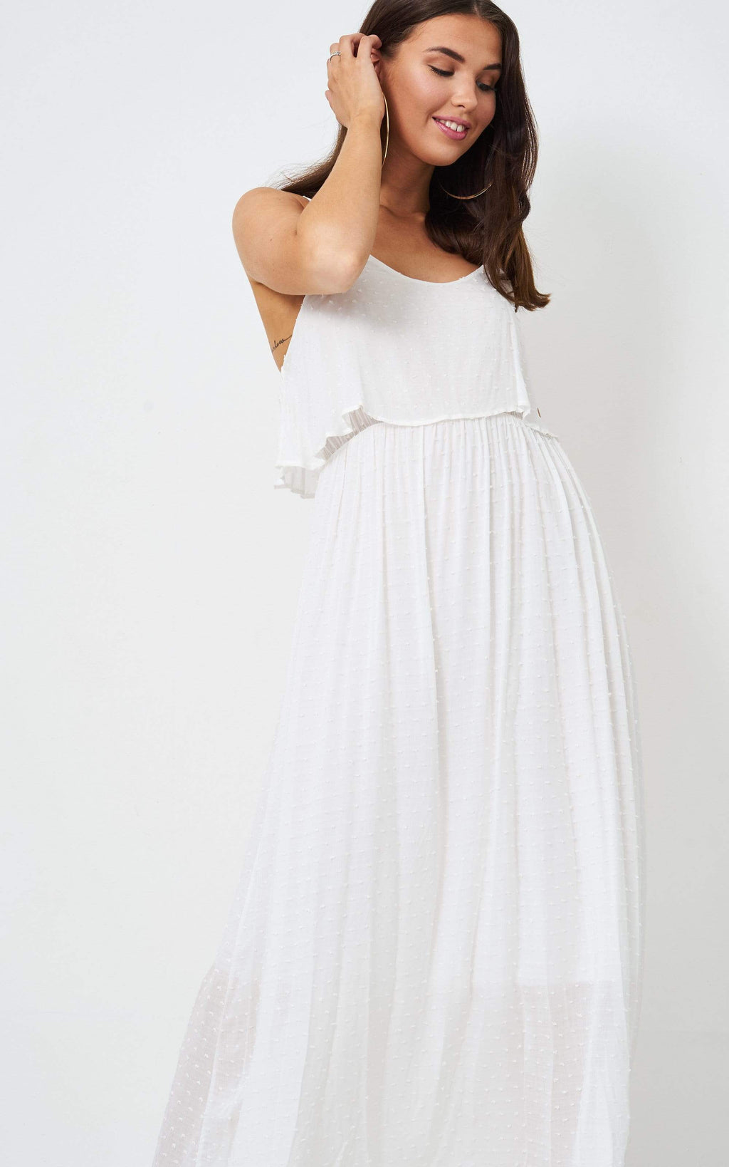 Willow White Layered Frill Maxi Dress - love frontrow