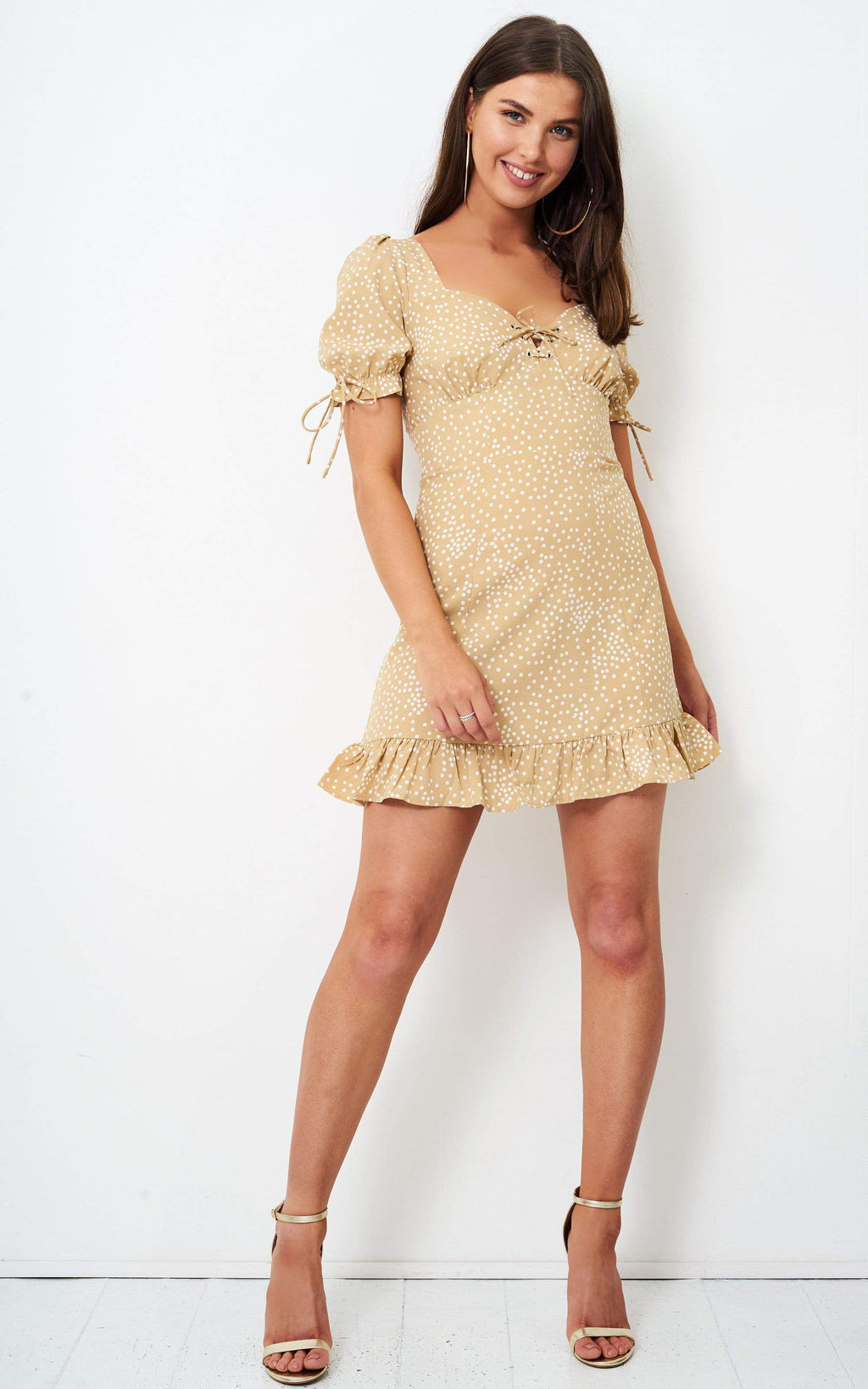 Winyla Tan Polka Dot Mini Dress - love frontrow