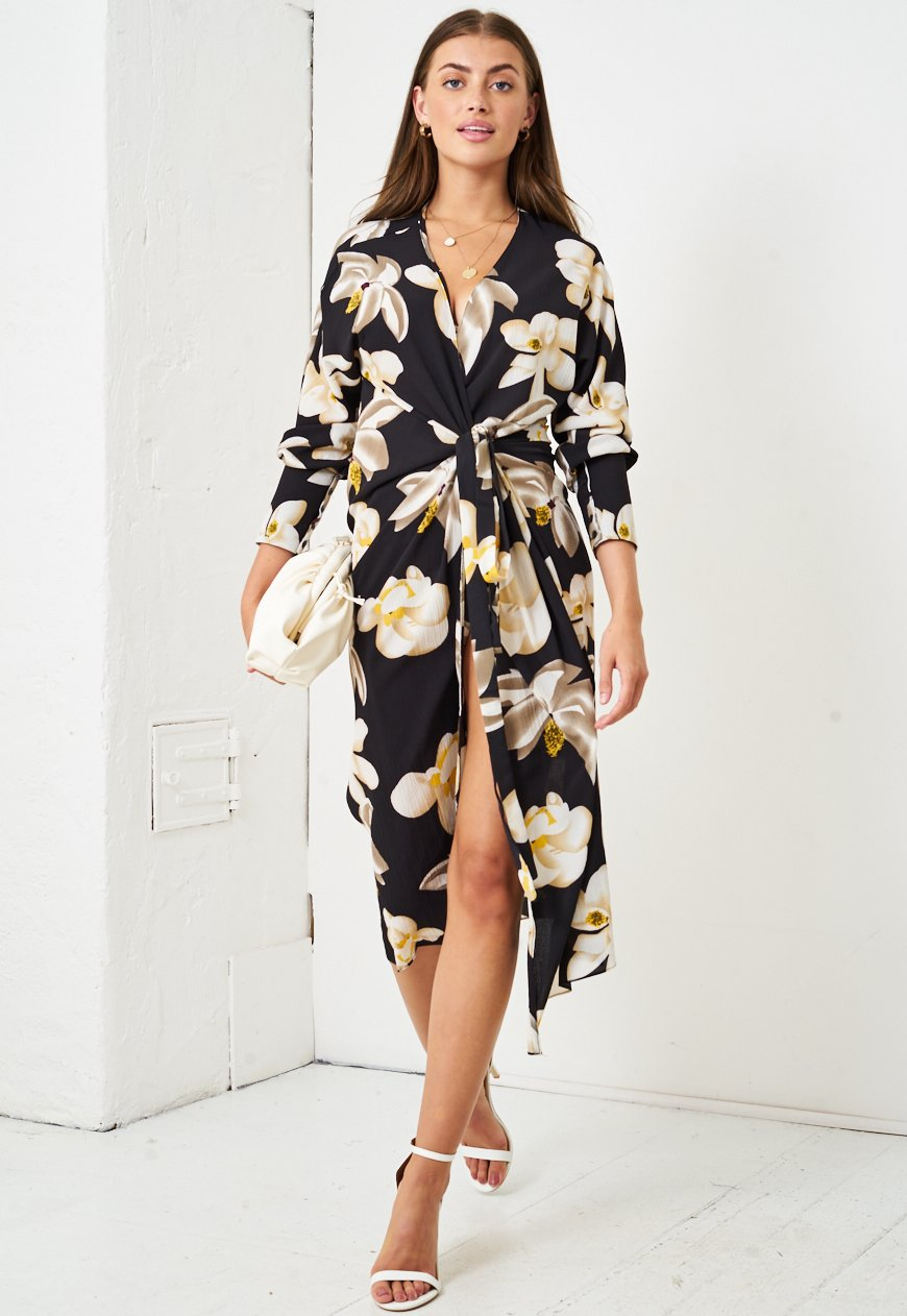 Yellow Floral Wrap Midi Dress in Black - love frontrow
