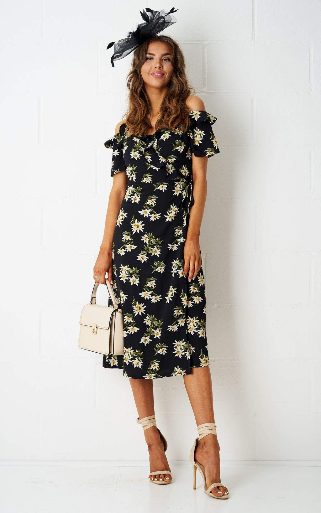 Gabriella Floral Cold Shoulder Wrap Dress - love frontrow