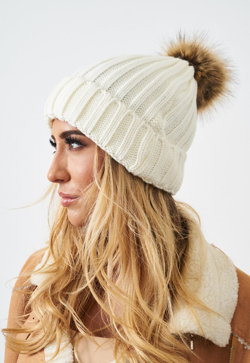 Cream Faux Fur Pom Pom Hat - love frontrow