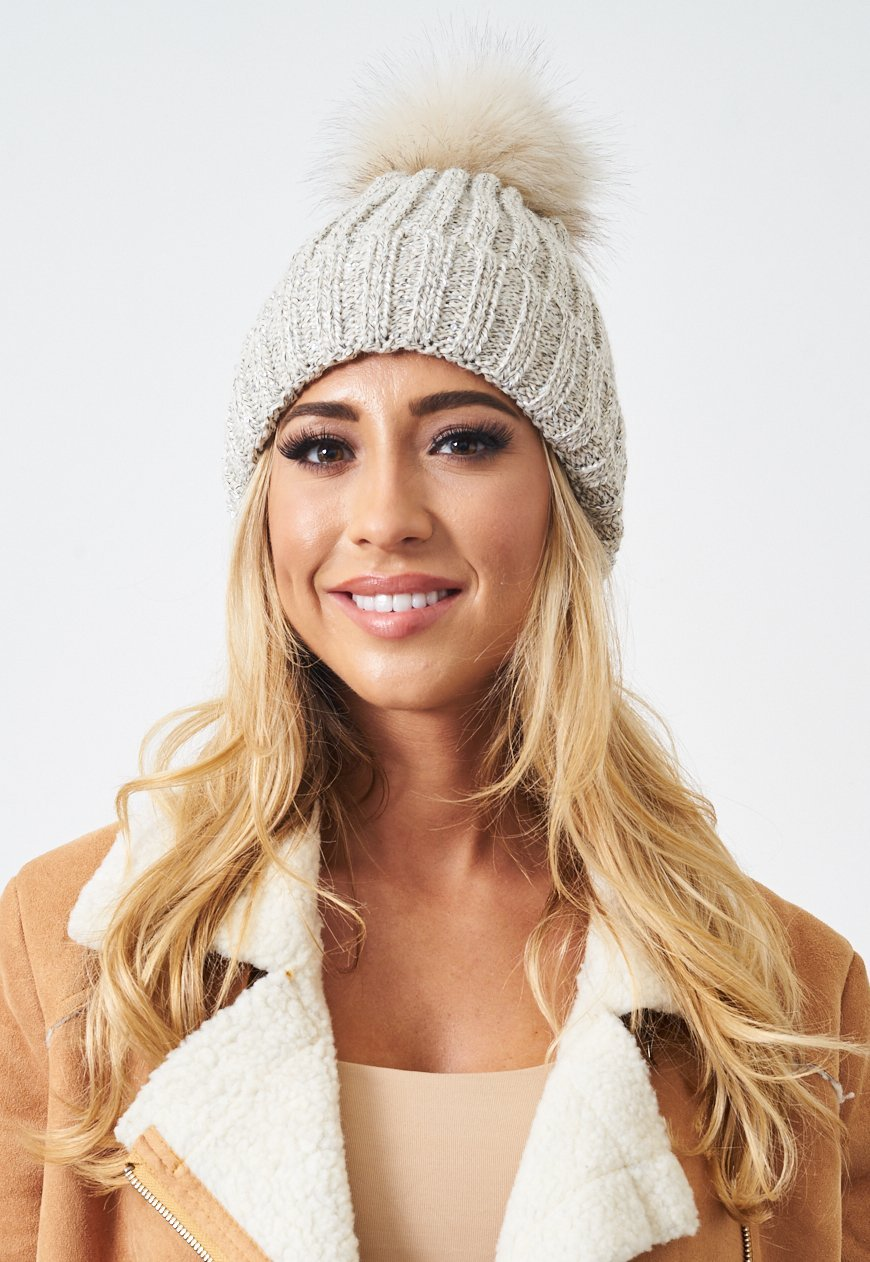Cream Faux Fur Pom Pom Sequin Hat - love frontrow