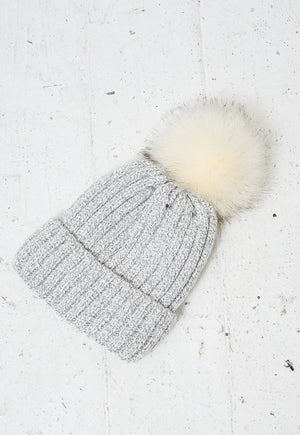 Grey Faux Fur Pom Pom Sequin Hat - love frontrow