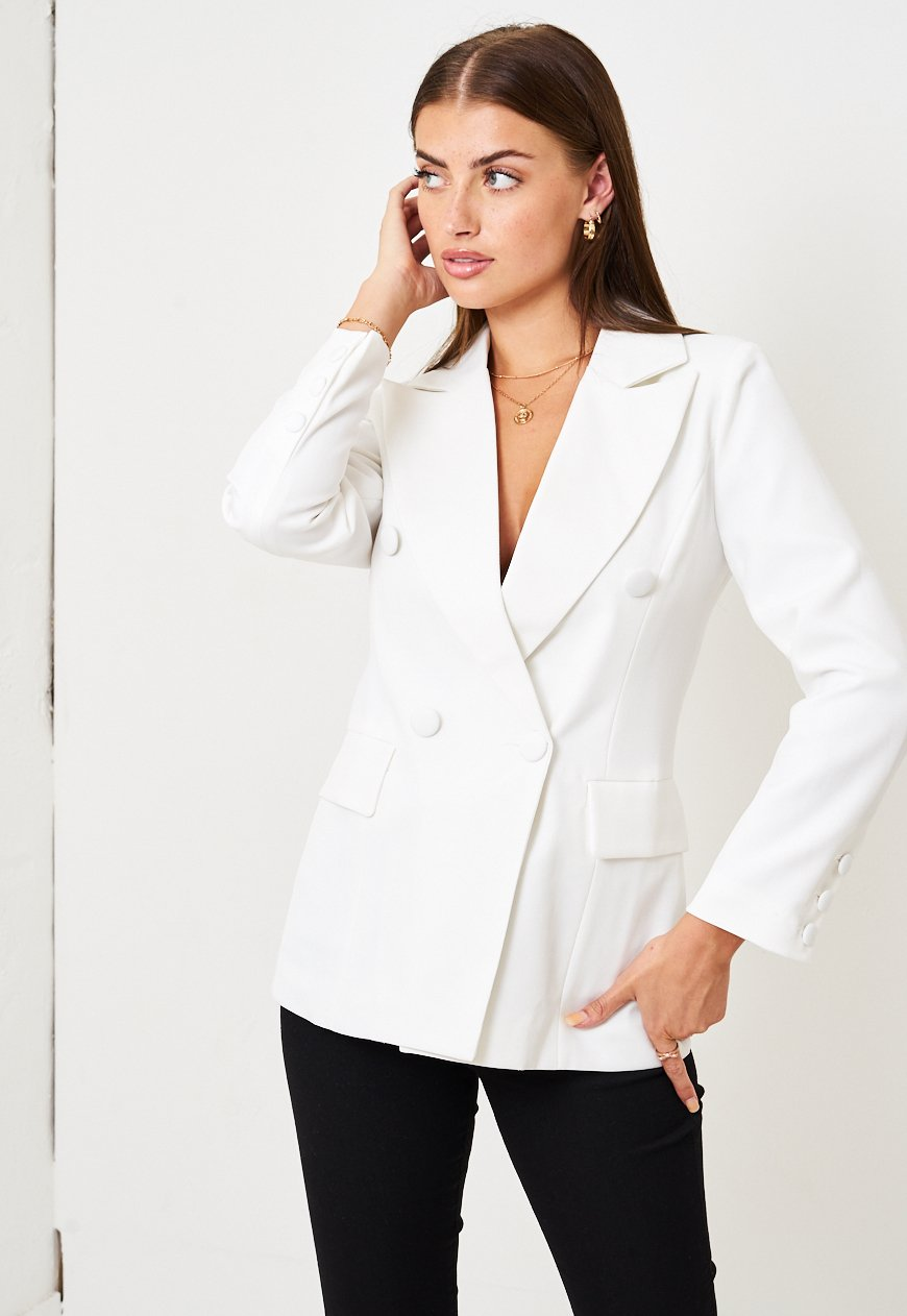White Pocket Blazer - love frontrow