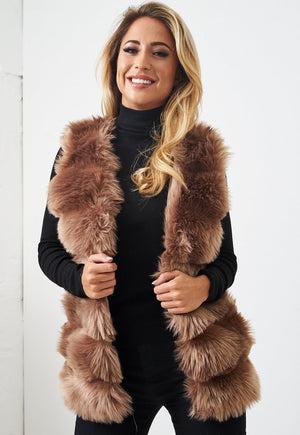 Brown Faux Fur Gilet - love frontrow