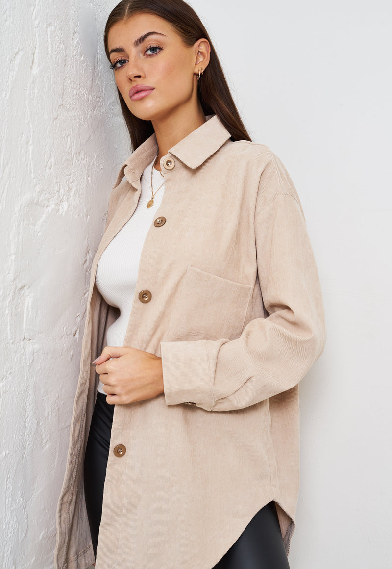 Cream Corduroy Oversized Shirt Shacket - love frontrow