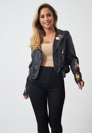 Floral Embroidered Black Faux Leather Jacket - love frontrow