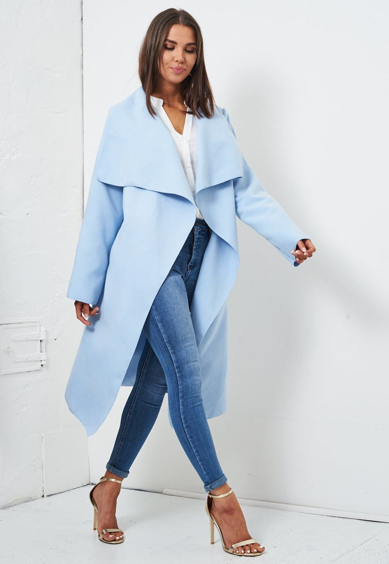 Baby Blue Waterfall Coat - love frontrow