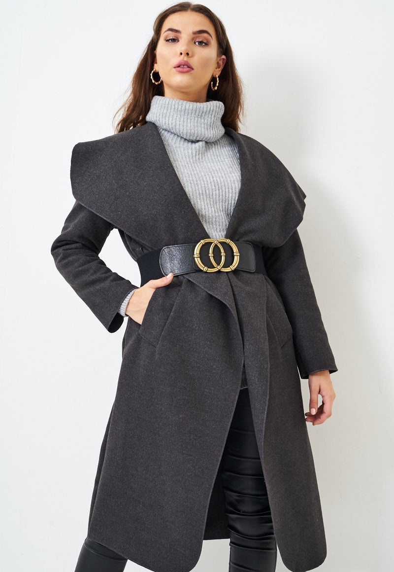 Charcoal Grey Waterfall Coat - love frontrow