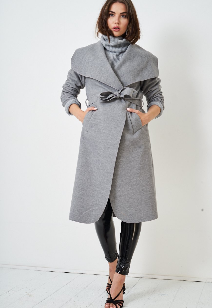 Light Grey Waterfall Belted Coat - love frontrow