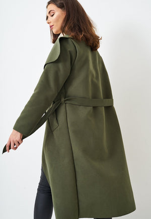 Khaki Waterfall Coat - love frontrow