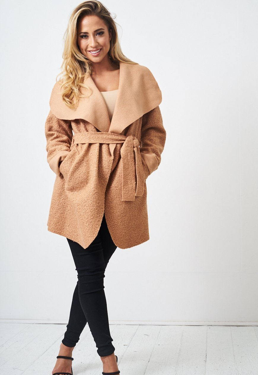 Teddy Camel Borg Waterfall Shawl Collar Coat - love frontrow