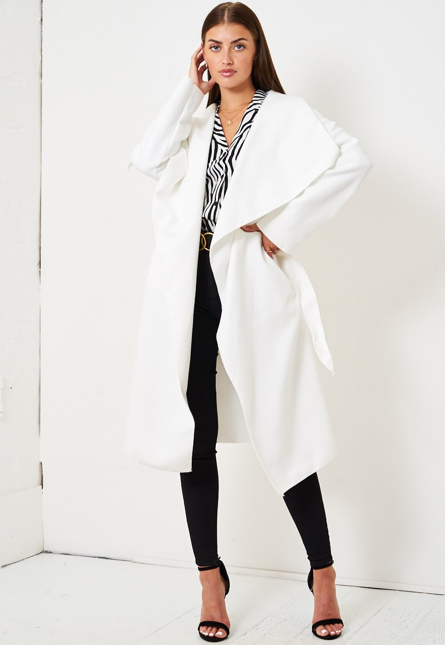 White Waterfall Drape Belted Coat - love frontrow
