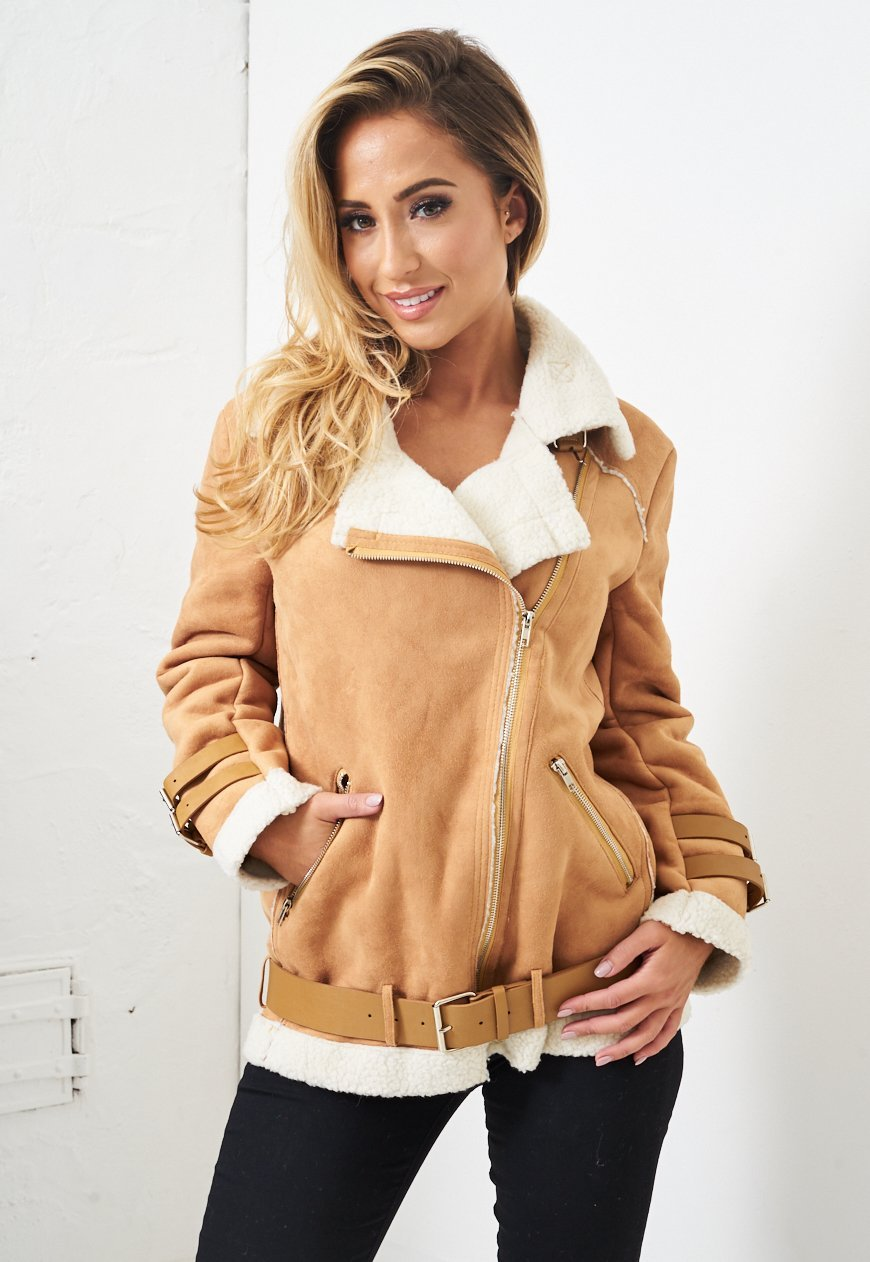 Tan Faux Suede Shearling Aviator Biker Jacket - love frontrow