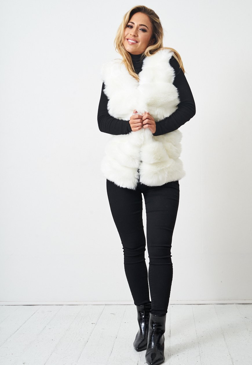 White Faux Fur Gilet - love frontrow