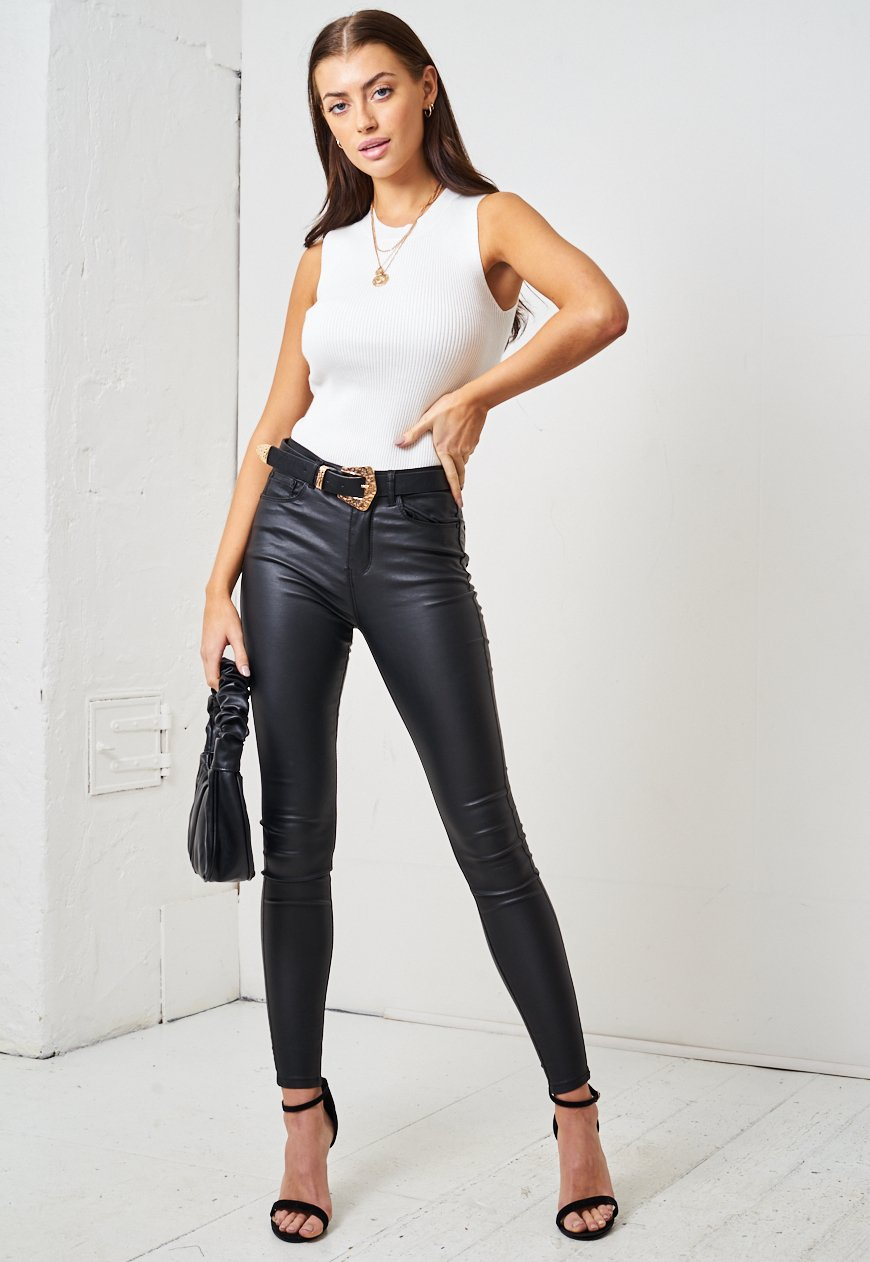 Skylar Black Leather Look High Waist Super Skinny Jeans - love frontrow