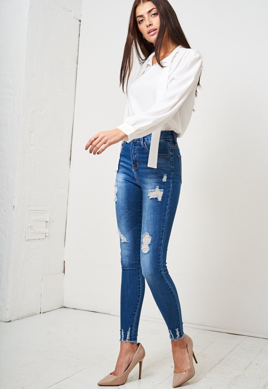 Blue Rip High Waist Skinny Jeans - love frontrow