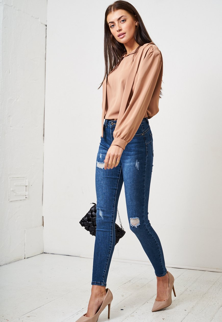 Dark Blue Rip High Waist Skinny Jeans - love frontrow