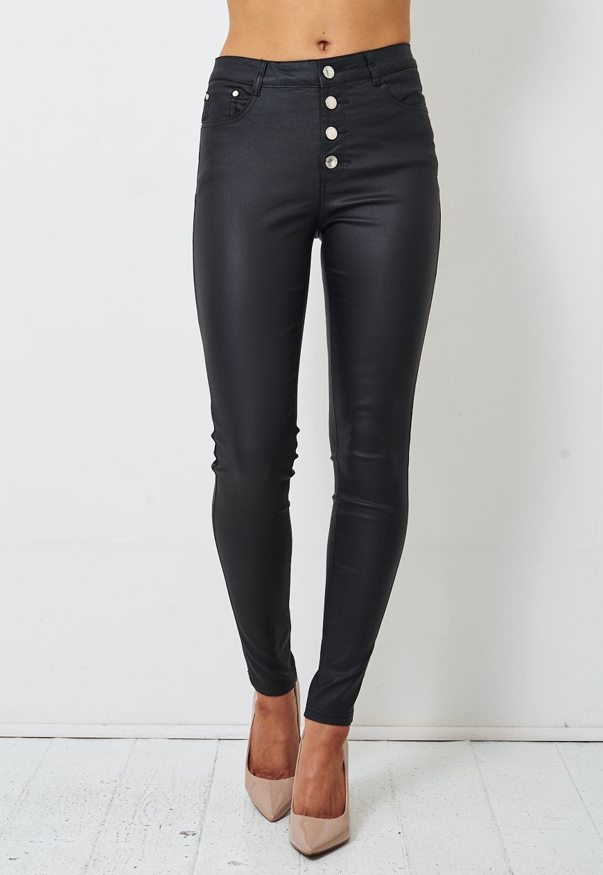 Black Wax Coated Button Front Jeans - love frontrow
