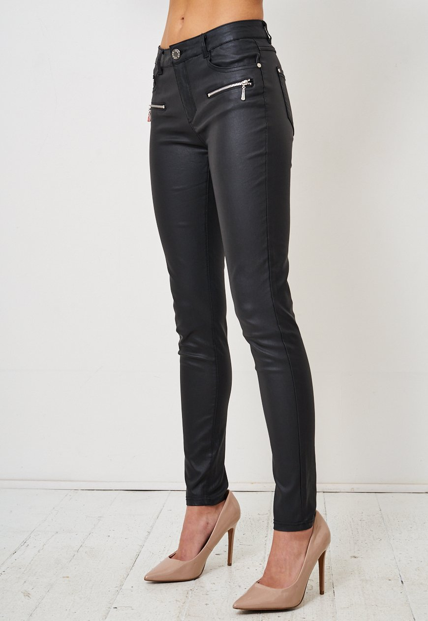 Black Wax Coated Zip Detail Jeans - love frontrow