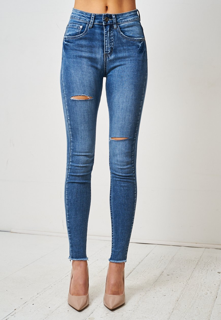 Blue Double Rip High Waist Skinny Jeans - love frontrow
