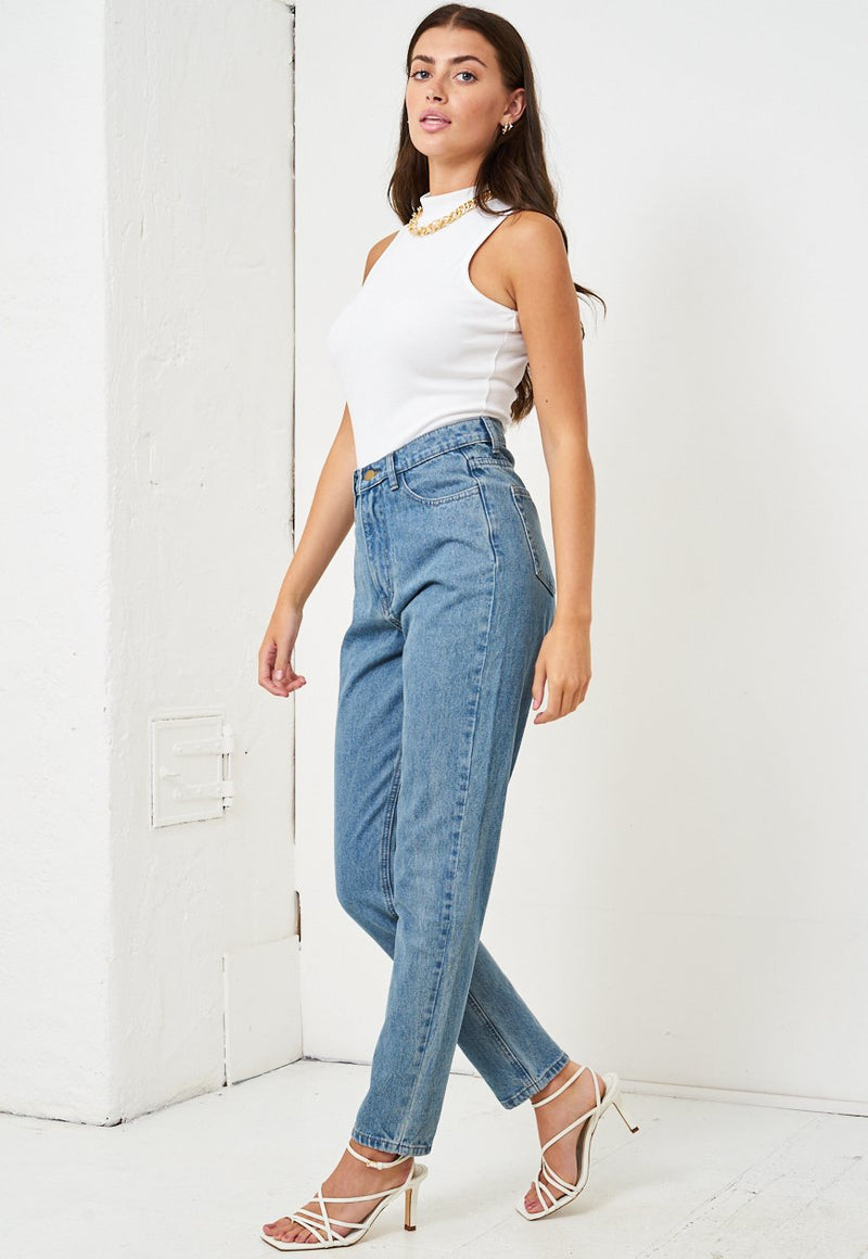 Blue High Waist Mom Jeans - love frontrow
