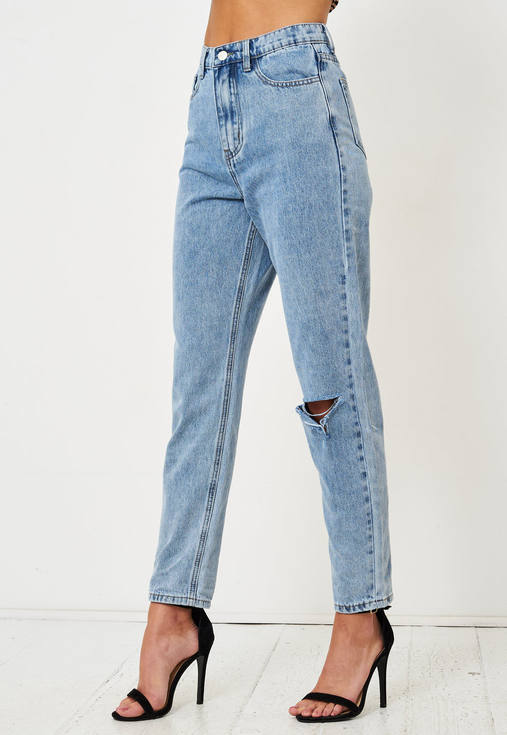 Blue High Waist Rip Mom Jeans - love frontrow