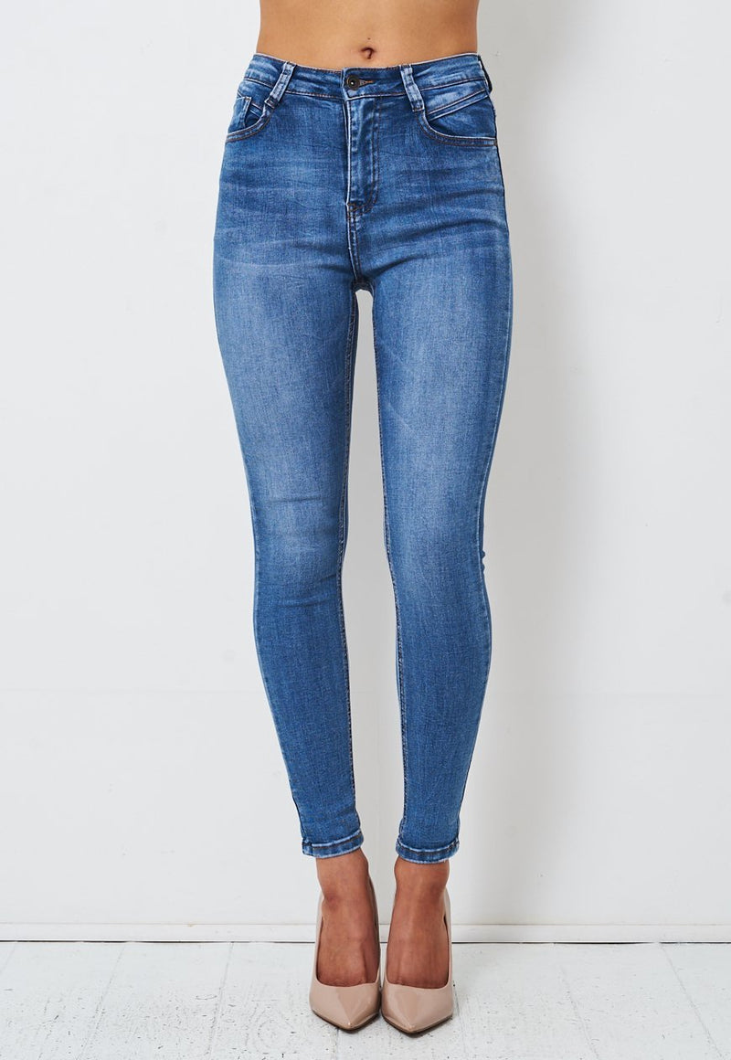 Blue High Waist Stretch Skinny Jeans - love frontrow