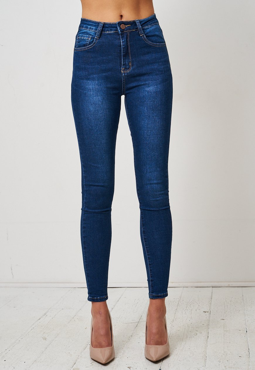 Dark Blue High Waist Stretch Skinny Jeans - love frontrow