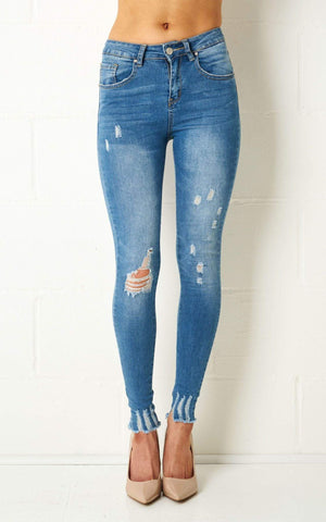 Freya Super Skinny Distress Rip Jeans In Blue - love frontrow