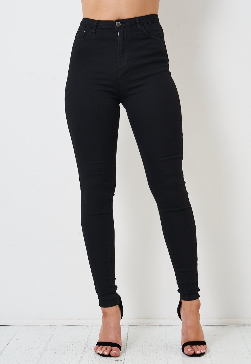 Keira Black Super Skinny High Waist Jeans - love frontrow