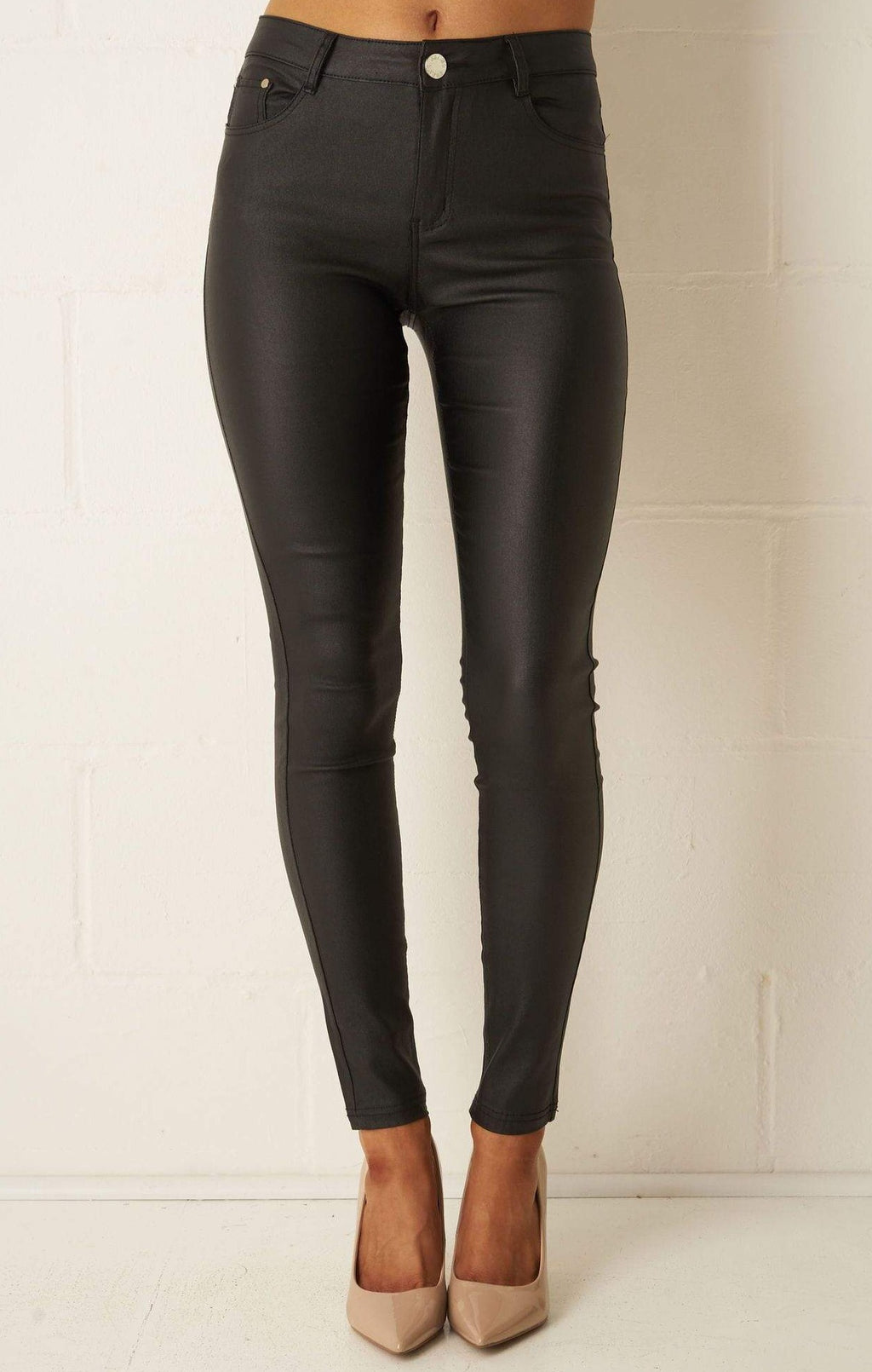 Morgan Fit Black Wax Coated Jeans - love frontrow