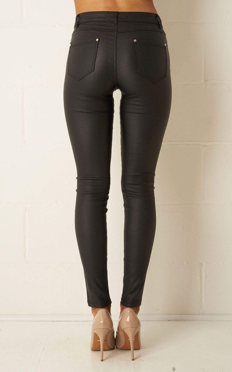 Morgan Black Wax Coated Jeans - love frontrow