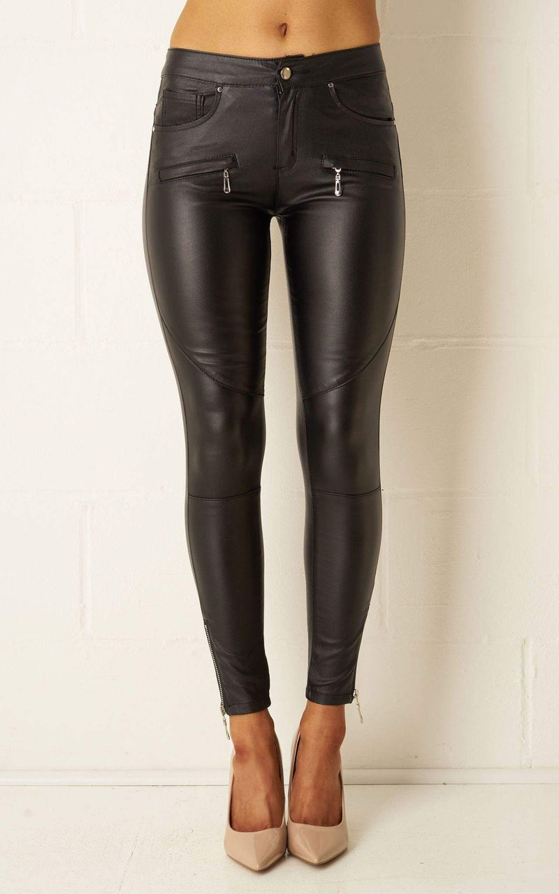Ryleigh Black Wax Coated Zip Trousers - love frontrow